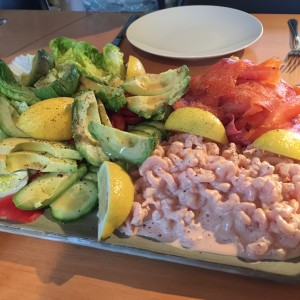 Avocado, prawns, and smoked salmon for Christmas brunch