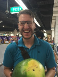 Max very much enjoying the prospect of buying a watermelon