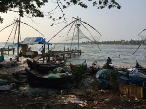 Chinese fishing nets in Kochin. There is an absolutely incredible amount of litter.